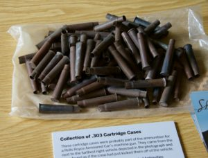 .303 cartridge cases, probably ammunition for the machine gun on a Rolls-Royce armoured car