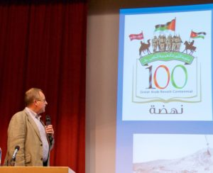 Chairman Philip Neale opens proceedings in the centennial year of the outbreak of the Arab Revolt